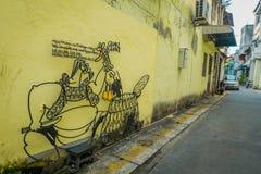 Городок Джордж, Малайзия - 10-ое марта 2017: Интересные граффити скульптуры утюга искусства улицы в майне Em Che, одном из Стоковое Изображение