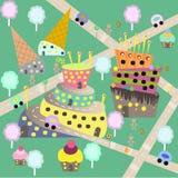 Городок детей сладостный, вектор иллюстрация штока