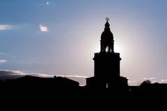 городок захода солнца sim гор ural стоковое изображение