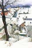 Городок зимы, иллюстрация акварели Стоковое фото RF