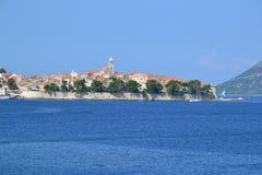 Городок и остров Korcula в Далмации, Хорватии Стоковая Фотография
