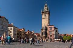 городок квадрата республики prague лошади экипажа чехословакский нарисованный старый Стоковые Изображения