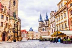 городок квадрата республики prague лошади экипажа чехословакский нарисованный старый Стоковая Фотография