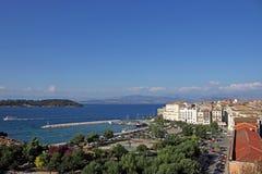 Городок Корфу старого порта и квадрата Стоковое Фото