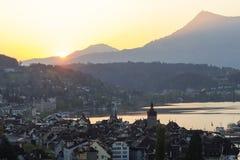 Городок Люцерна старый в Швейцарии Стоковые Изображения RF