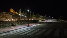 Городок на ноче Стоковая Фотография
