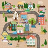Городок на дороге иллюстрация вектора