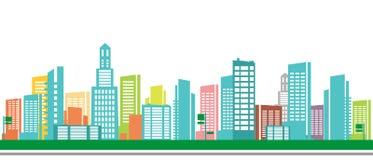 Городок панорамы - иллюстрация эскиза иллюстрация вектора