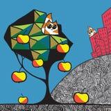 Городок, сад и коты Стоковое Изображение