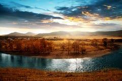 Городок луны, река Chai, Внутренняя Монголия Стоковое Фото