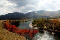 Городок луны, река Chai, Внутренняя Монголия Стоковые Изображения RF