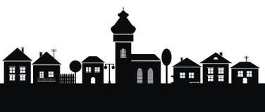 Городок, черный силуэт Стоковое Фото