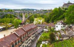 Городок Bern старый, прибрежный ландшафт Стоковая Фотография RF