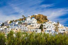 Городок Chora, остров Ios, Киклады, эгейские, Греция Стоковое Изображение