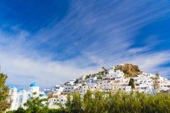 Городок Chora, остров Ios, Киклады, эгейские, Греция Стоковые Изображения