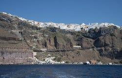 Городок Fira, Santorini, Греция Стоковые Изображения RF