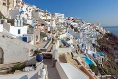 Городок Fira, Santorini, острова Tira, Кикладов Стоковое Изображение RF