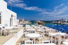 Городок Naoussa, остров Paros, Киклады, эгейские, Греция Стоковое Фото