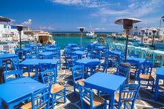 Городок Naoussa, остров Paros, Киклады, эгейские, Греция Стоковые Фотографии RF