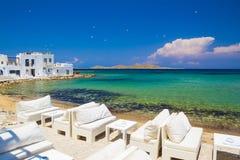 Городок Naoussa, остров Paros, Киклады, эгейские, Греция Стоковая Фотография RF