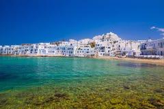 Городок Naoussa, остров Paros, Киклады, эгейские, Греция Стоковые Изображения