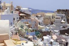 Городок Oia, Santorini, Греции Стоковые Изображения RF