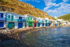 Городок Pictoresque Klima, Milos остров, Киклады, эгейские, Греция Стоковое фото RF