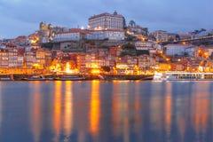 городок porto Португалии ночи старый Стоковые Фото
