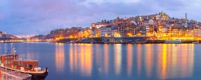 городок porto Португалии ночи старый Стоковое Изображение RF
