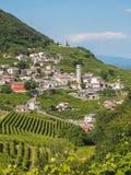 Городок Valdobbiadene и виноградники Prosecco в венето Стоковая Фотография