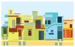 Город дома установленный азиатский иллюстрация вектора