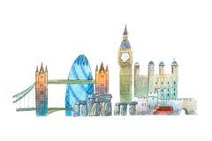Город ориентир ориентиров горизонта Лондона известных путешествует и иллюстрации waercolor туризма Стоковое фото RF