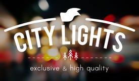 Город освещает концепцию выдержки зарева конспекта ночной жизни Стоковое фото RF