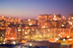 Город освещает Bokeh Стоковые Фотографии RF