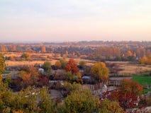 город осени расквартировывает желтый цвет валов листьев Стоковая Фотография