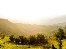 Город долины Sapa в тумане в утре Стоковые Изображения RF