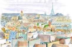 Город Парижа в акварели Стоковое Фото