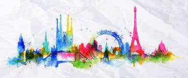 Город Париж верхнего слоя силуэта Стоковое Изображение RF
