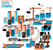 Город промышленного и загрязнения с зданиями, фабрика, constr иллюстрация вектора