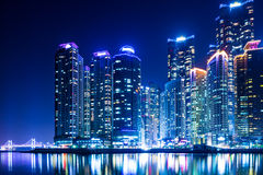 Город Пусана на ноче Стоковое фото RF