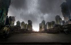Город разрушенный войной стоковое фото rf