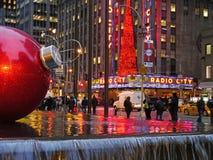 Город радио на рождестве, NYC Стоковые Изображения RF