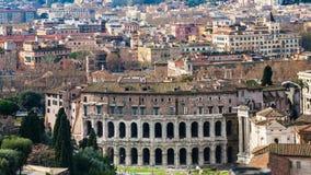 Город Рима с старым театром Маркела Стоковая Фотография