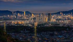Город Сеула в заходе солнца Стоковые Фотографии RF