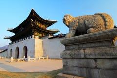 Город Сеула - квадрат Gwanghwamun - дворец Gyeongbok - Южная Корея Стоковая Фотография RF