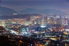 Город Сеула на ноче Стоковые Изображения