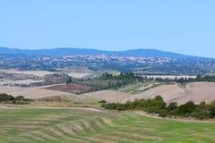 Город Сиены и тосканского ландшафта Стоковые Изображения RF