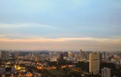 Город Сингапура вида с воздуха Стоковые Фото