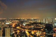 Город Сингапура вида с воздуха Стоковое Фото