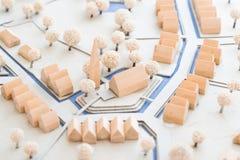 Городская архитектурноакустическая модель малой деревни с церковью, Стоковая Фотография